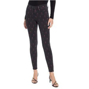 Frame Le High Skinny Heart Jeans in Washed Black